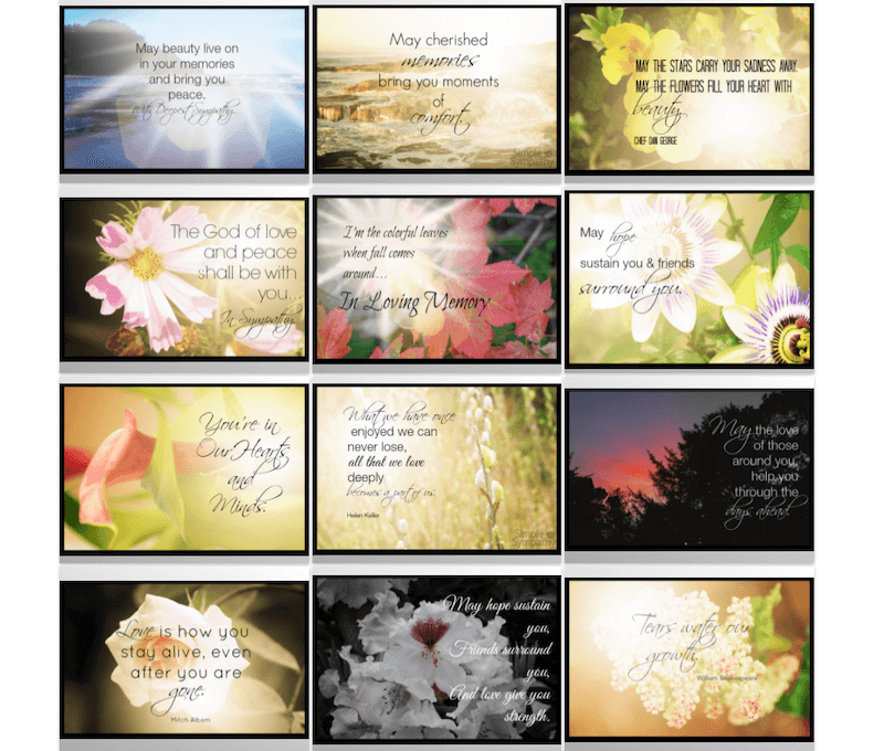 words of sympathy ecards